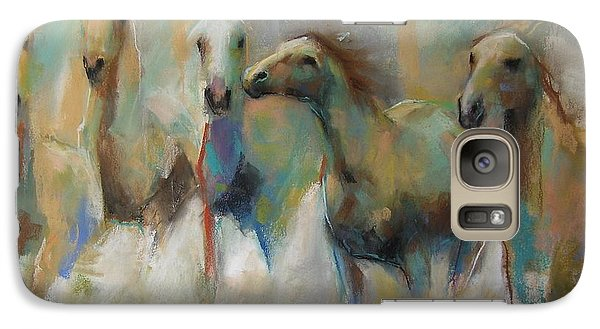 Galaxy Case featuring the pastel Running With The Palominos by Frances Marino