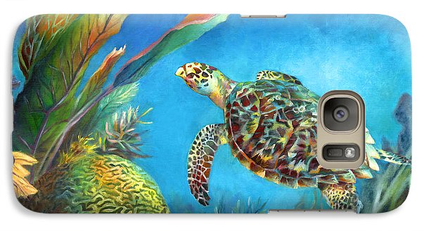 Galaxy Case featuring the painting Sea Escape Iv - Hawksbill Turtle Flying Free by Nancy Tilles