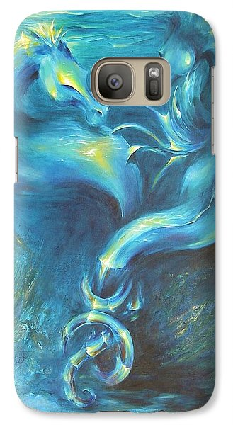 Galaxy Case featuring the painting Seahorses In Love 3 by Dina Dargo