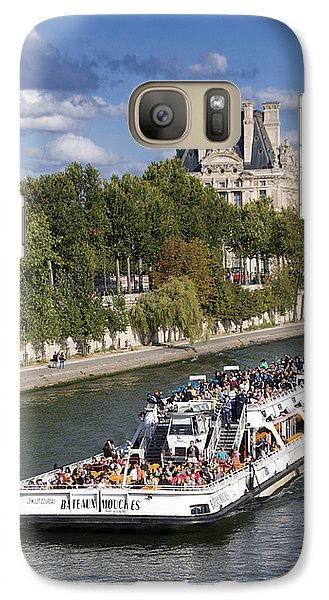 Louvre Galaxy S7 Case - Sightseeing Boat On River Seine To Louvre Museum. Paris by Bernard Jaubert