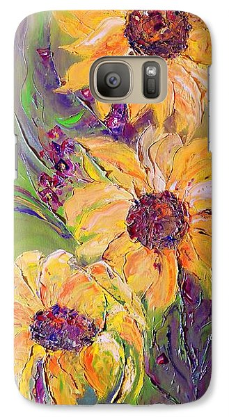Galaxy Case featuring the painting Sunflowers by AmaS Art