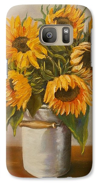 Galaxy Case featuring the painting Sunflowers by Nina Mitkova