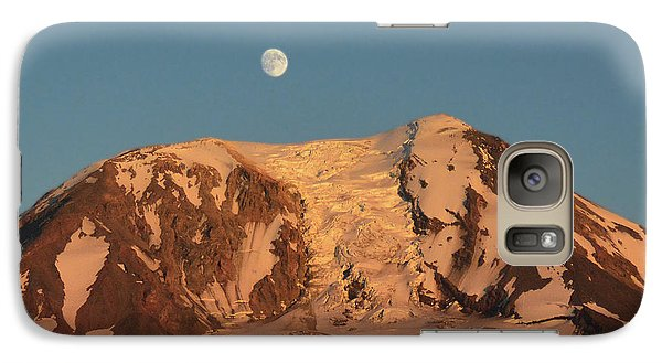 Galaxy Case featuring the photograph Sunset And Moonrise At Mt Adams by Jack Moskovita