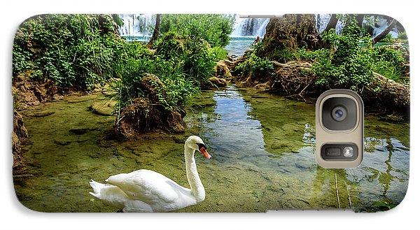 Swan In The Waterfalls Of Skradinski Buk At Krka National Park In Croatia Galaxy S7 Case
