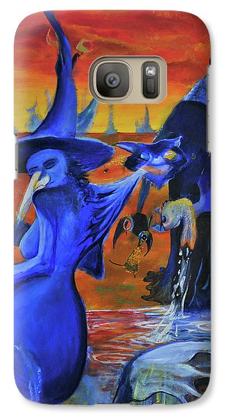 Galaxy Case featuring the painting The Cat And The Witch by Christophe Ennis