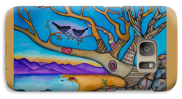 Galaxy Case featuring the painting The Kiss And Love Is All There Is by Lori Miller