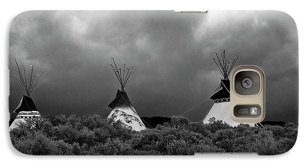 Galaxy Case featuring the photograph Three Teepee's by Carolyn Dalessandro