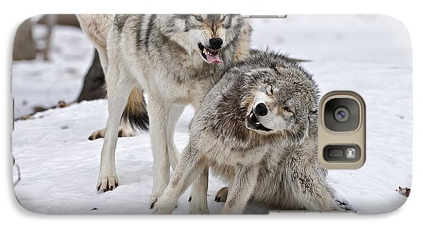 Galaxy Case featuring the photograph Timber Wolves In Winter by Michael Cummings