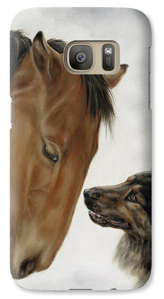 Galaxy Case featuring the painting Trail Mates by Cathy Cleveland