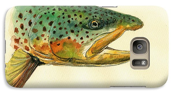Trout Watercolor Painting Galaxy Case by Juan  Bosco