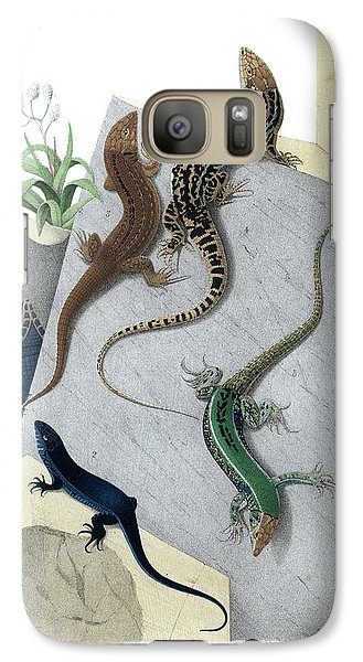 Galaxy Case featuring the drawing Varieties Of Wall Lizard by Jacques von Bedriaga