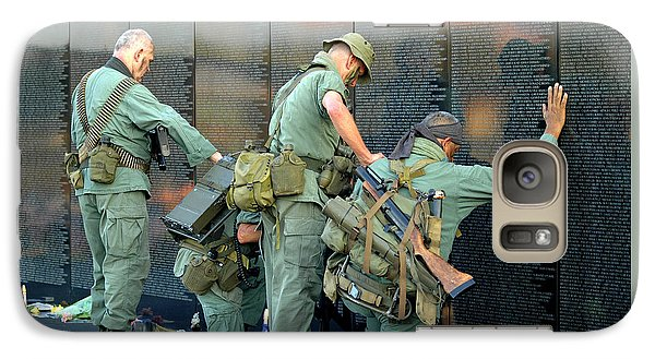 Galaxy Case featuring the photograph Veterans At Vietnam Wall by Carolyn Marshall