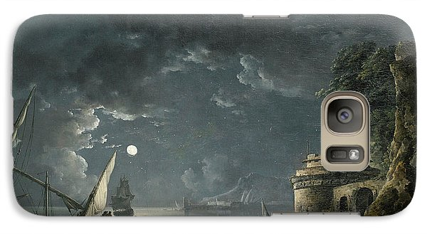 Galaxy Case featuring the painting View Of A Moonlit Mediterranean Harbor by Carlo Bonavia
