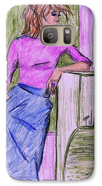 Galaxy Case featuring the drawing Waiting by P J Lewis