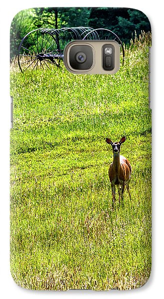 Galaxy Case featuring the photograph Whitetail Deer And Hay Rake by Thomas R Fletcher