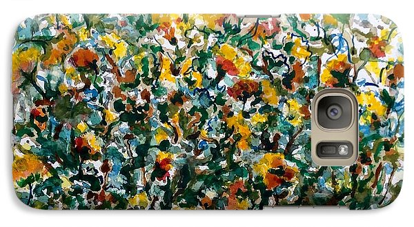 Galaxy Case featuring the painting Wild Flowers#3 by Laila Awad Jamaleldin