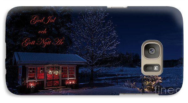 Galaxy Case featuring the photograph Winter Night Greetings In Swedish by Torbjorn Swenelius