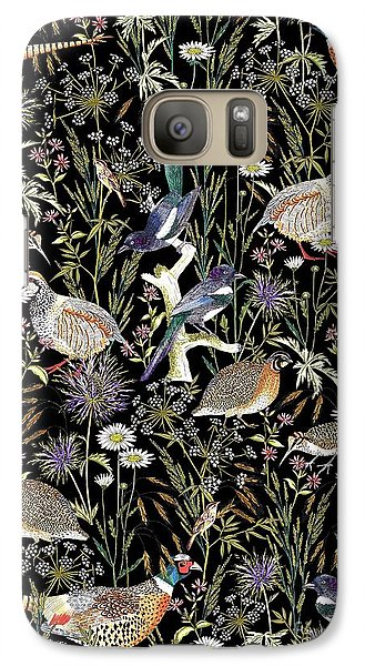 Woodland Edge Birds Galaxy Case by Jacqueline Colley