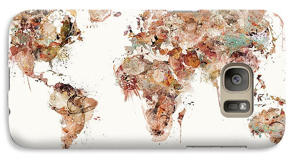 Galaxy Case featuring the painting World Map Watercolors by Bri B
