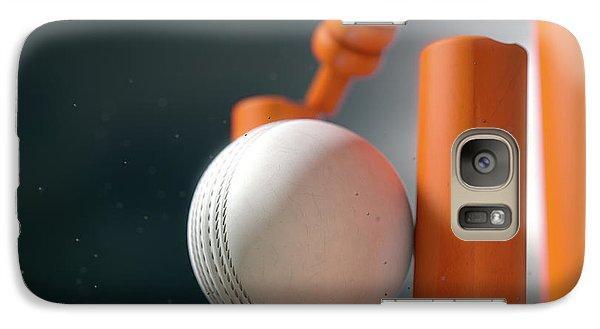 Cricket Ball Hitting Wickets Galaxy S7 Case by Allan Swart