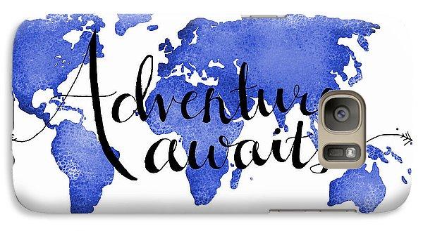 12x16 Adventure Awaits Blue Map Art Galaxy Case by Michelle Eshleman