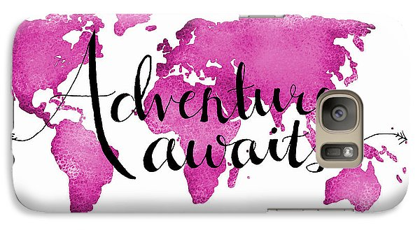 12x16 Adventure Awaits Pink Map Galaxy Case by Michelle Eshleman