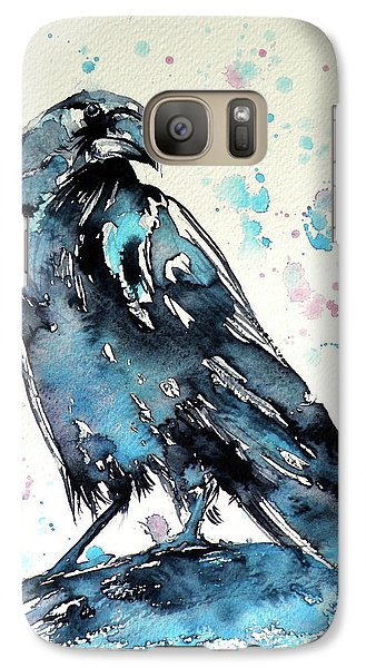 Galaxy Case featuring the painting Crow by Kovacs Anna Brigitta