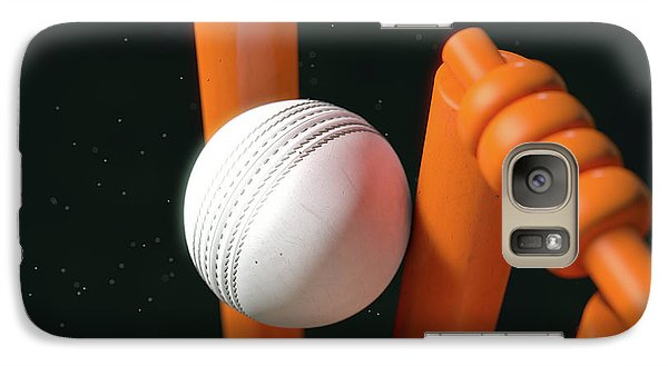 Cricket Ball Hitting Wickets Galaxy Case by Allan Swart