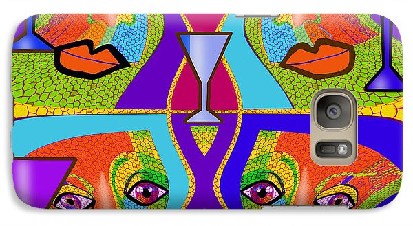 Galaxy Case featuring the digital art 1688 - Funny Faces 2017 by Irmgard Schoendorf Welch