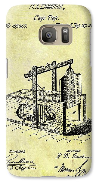 Galaxy Case featuring the mixed media 1870 Mousetrap Patent by Dan Sproul