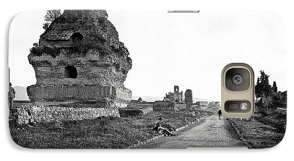 Galaxy Case featuring the photograph 1870 Visiting Roman Ruins Along The Appian Way by Historic Image