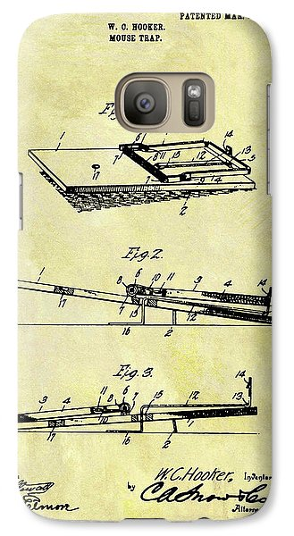 Galaxy Case featuring the mixed media 1903 Mouse Trap Patent by Dan Sproul