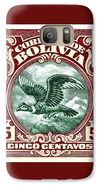 Vulture Galaxy S7 Case - 1928 Bolivia Andean Condor Postage Stamp by Retro Graphics