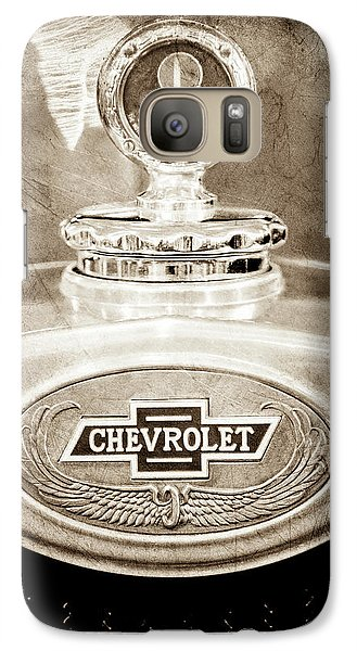 Galaxy Case featuring the photograph 1928 Chevrolet 2 Door Coupe Hood Ornament Moto Meter -0789s by Jill Reger
