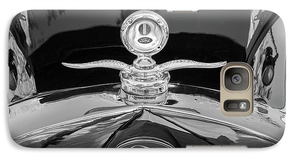 Galaxy Case featuring the photograph 1929 Ford Model A Hood Ornament Bw by Rich Franco