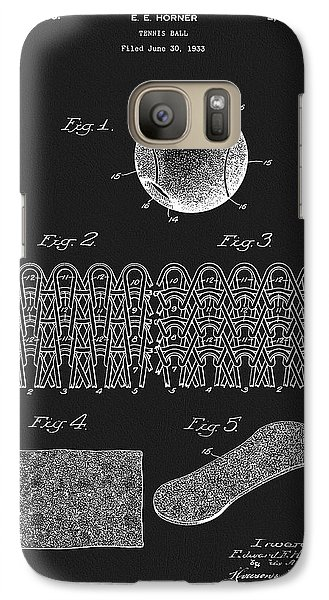 Galaxy Case featuring the mixed media 1935 Tennis Ball Patent by Dan Sproul