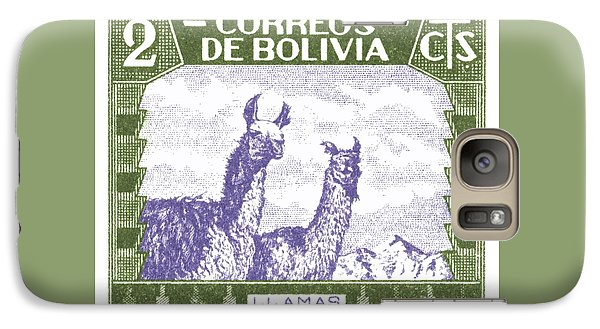 Llama Galaxy S7 Case - 1939 Bolivia Llamas Postage Stamp by Retro Graphics