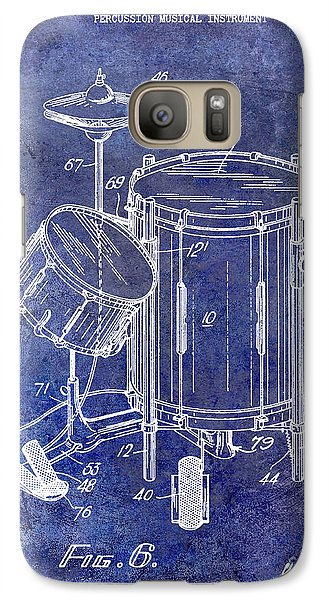 Drum Galaxy S7 Case - 1951 Drum Kit Patent Blue by Jon Neidert