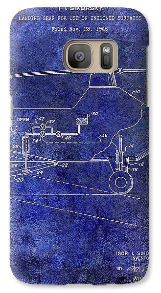 1953 Helicopter Patent Blue Galaxy S7 Case by Jon Neidert
