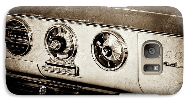 Galaxy Case featuring the photograph 1955 Ford Fairlane Dashboard Emblem -0444s by Jill Reger
