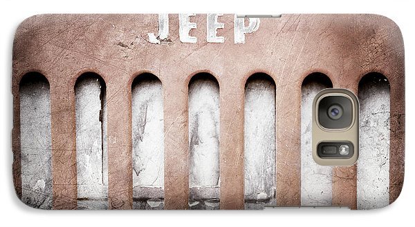 Galaxy Case featuring the photograph 1957 Jeep Emblem -0597ac by Jill Reger