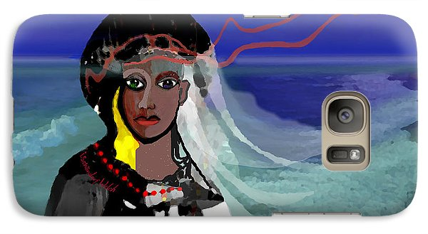 Galaxy Case featuring the digital art 1965 - Walk On The Oceanside by Irmgard Schoendorf Welch