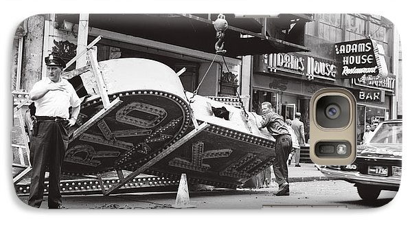 Galaxy Case featuring the photograph 1965 Removing Rko Theater Sign Boston by Historic Image