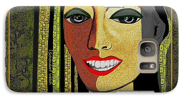 Galaxy Case featuring the digital art 1966 - Lady With Beautiful Teeth by Irmgard Schoendorf Welch