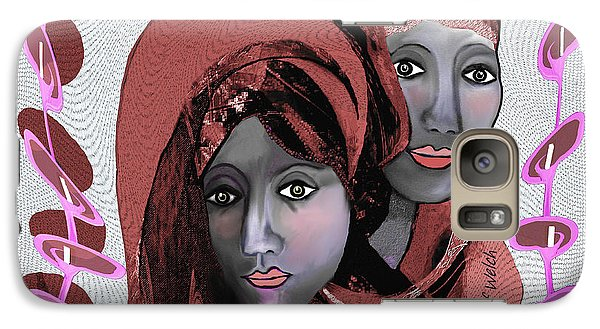 Galaxy Case featuring the digital art 1971- Rosecoloured Portrait 2017 by Irmgard Schoendorf Welch
