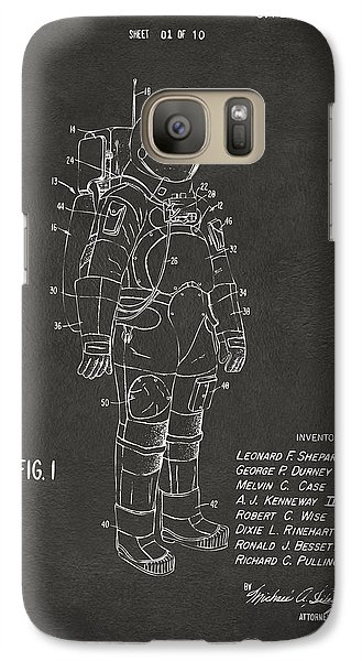 1973 Space Suit Patent Inventors Artwork - Gray Galaxy S7 Case