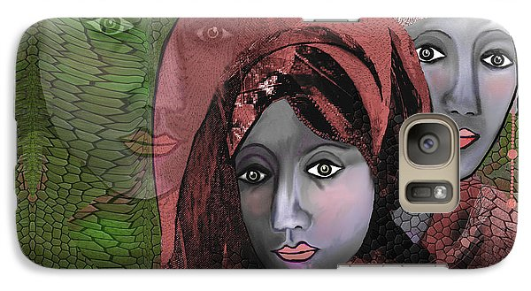 Galaxy Case featuring the digital art 1974 - Women In Rosecoloured Clothes - 2017 by Irmgard Schoendorf Welch