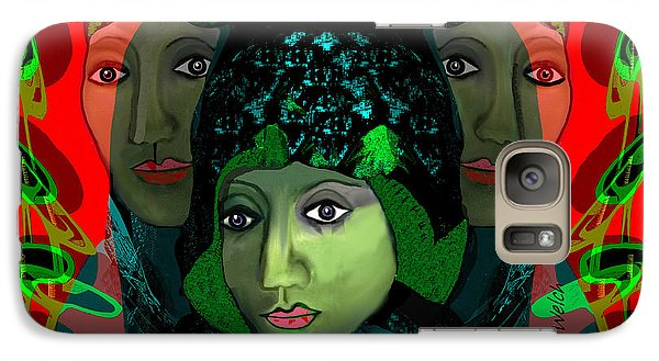 Galaxy Case featuring the digital art 1975 - Mystery Woman by Irmgard Schoendorf Welch