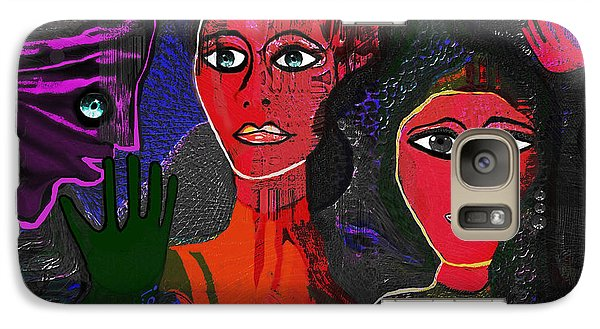 Galaxy Case featuring the digital art 1977 - Faces Red by Irmgard Schoendorf Welch
