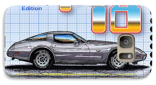 Galaxy Case featuring the drawing 1978 Silver Anniversary Edition Corvette by K Scott Teeters
